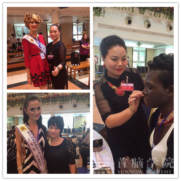 首脑化妆造型团队为世界模特小姐化妆
