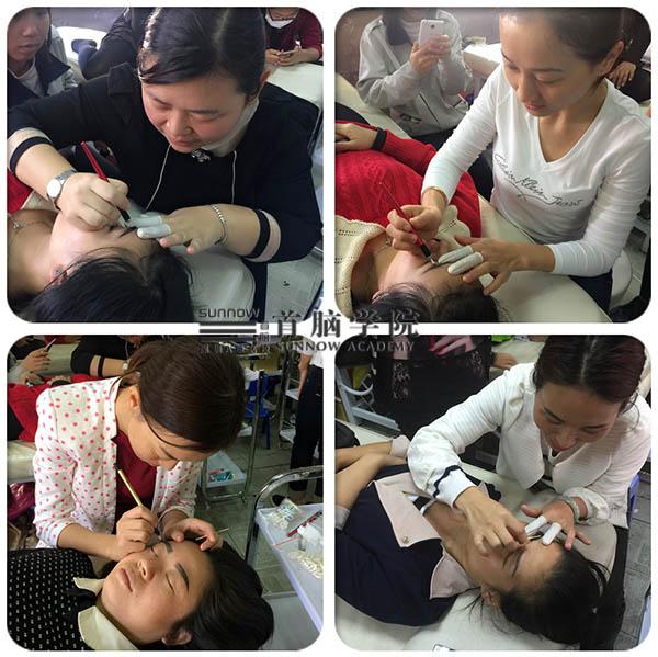 首脑学院宝安校区半永久化妆培训班同学实际操作